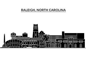 Usa, Raleigh, North Carolina architecture vector city skyline, travel cityscape with landmarks, buildings, isolated sights on background
