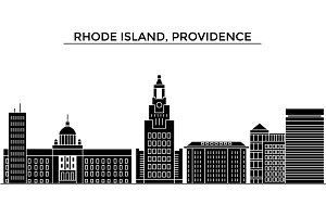Usa, Rhode Island, Providence architecture vector city skyline, travel cityscape with landmarks, buildings, isolated sights on background