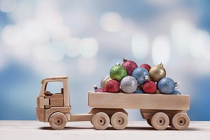 Christmas balls in truck.