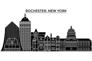Usa, Rochester, New York architecture vector city skyline, travel cityscape with landmarks, buildings, isolated sights on background