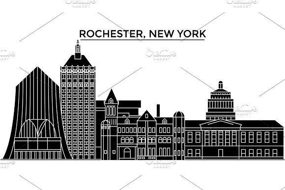 Usa Rochester New York Architecture Vector City Skyline Travel Cityscape With Landmarks Buildings Isolated Sights On Background