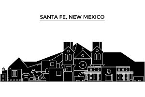 Usa, Santa Fe, New Mexico architecture vector city skyline, travel cityscape with landmarks, buildings, isolated sights on background
