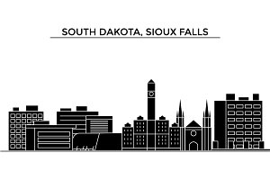 Usa, South Dakota, Sioux Falls architecture vector city skyline, travel cityscape with landmarks, buildings, isolated sights on background
