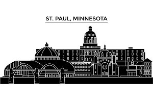 Usa, St. Paul, Minnesota architecture vector city skyline, travel cityscape with landmarks, buildings, isolated sights on background