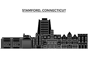Usa, Stamford, Connecticut architecture vector city skyline, travel cityscape with landmarks, buildings, isolated sights on background