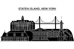 Usa, Staten Island, New York architecture vector city skyline, travel cityscape with landmarks, buildings, isolated sights on background
