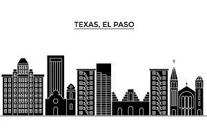 Usa, Texas El Paso architecture vector city skyline, travel cityscape with landmarks, buildings, isolated sights on background