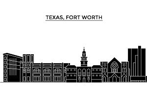 Usa, Texas Fort Worth architecture vector city skyline, travel cityscape with landmarks, buildings, isolated sights on background