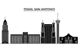 Usa, Texas San Antonio architecture vector city skyline, travel cityscape with landmarks, buildings, isolated sights on background