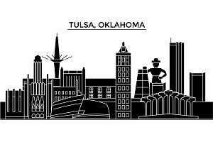 Usa, Tulsa, Oklahoma architecture vector city skyline, travel cityscape with landmarks, buildings, isolated sights on background
