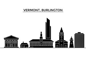 Usa, Vermont, Burlington architecture vector city skyline, travel cityscape with landmarks, buildings, isolated sights on background