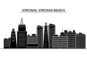 Usa, Virginia, Virginia Beach architecture vector city skyline, travel cityscape with landmarks, buildings, isolated sights on background