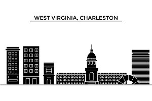 Usa, West Virginia, Charleston architecture vector city skyline, travel cityscape with landmarks, buildings, isolated sights on background