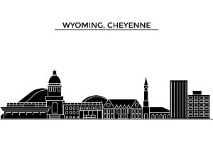 Usa, Wyoming, Cheyenne architecture vector city skyline, travel cityscape with landmarks, buildings, isolated sights on background