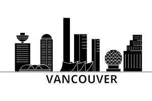 Vancouver architecture vector city skyline, travel cityscape with landmarks, buildings, isolated sights on background