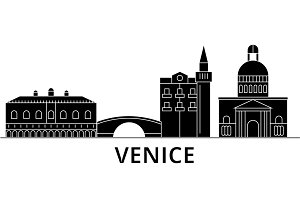 Venice architecture vector city skyline, travel cityscape with landmarks, buildings, isolated sights on background
