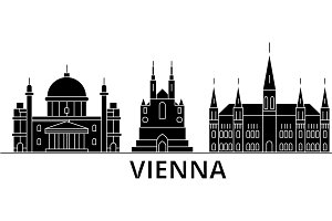 Vienna architecture vector city skyline, travel cityscape with landmarks, buildings, isolated sights on background