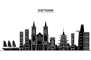 Vietnam architecture vector city skyline, travel cityscape with landmarks, buildings, isolated sights on background