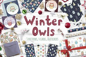 Winter Owls: patterns, illustrations