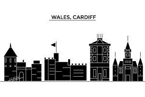 Wales, Cardiff architecture vector city skyline, travel cityscape with landmarks, buildings, isolated sights on background