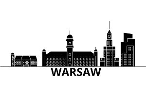 Warsaw architecture vector city skyline, travel cityscape with landmarks, buildings, isolated sights on background