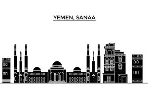 Yemen, Sanaa architecture vector city skyline, travel cityscape with landmarks, buildings, isolated sights on background