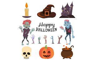 Happy Halloween Poster on Vector Illustration
