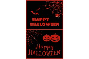 Happy Halloween Placard on Vector Illustration