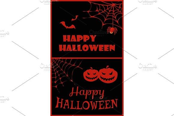Happy Halloween Placard On Vector Illustration