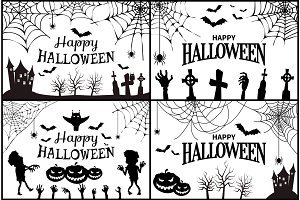 Happy Halloween with Icons Vector Illustration