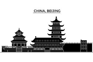 China, Beijing architecture urban skyline with landmarks, cityscape, buildings, houses, ,vector city landscape, editable strokes