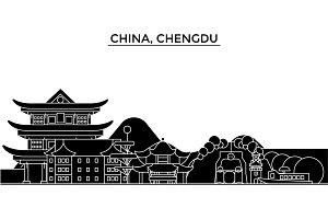 China, Chengdu architecture urban skyline with landmarks, cityscape, buildings, houses, ,vector city landscape, editable strokes