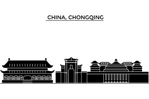 China, Chongqing architecture urban skyline with landmarks, cityscape, buildings, houses, ,vector city landscape, editable strokes