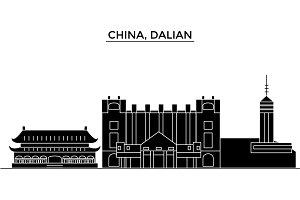 China, Dalian architecture urban skyline with landmarks, cityscape, buildings, houses, ,vector city landscape, editable strokes