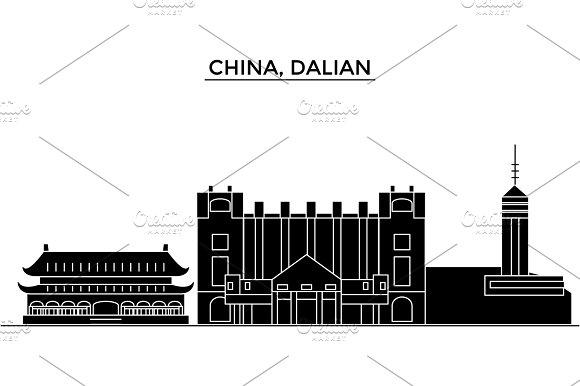 China, Dalian architecture urban skyline with landmarks, cityscape, buildings, houses, ,vector city landscape, editable strokes