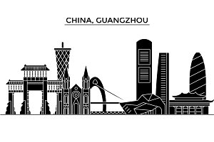 China, Guangzhou architecture urban skyline with landmarks, cityscape, buildings, houses, ,vector city landscape, editable strokes