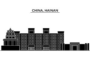 China, Hainan architecture urban skyline with landmarks, cityscape, buildings, houses, ,vector city landscape, editable strokes