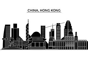 China, Hong Kong architecture urban skyline with landmarks, cityscape, buildings, houses, ,vector city landscape, editable strokes