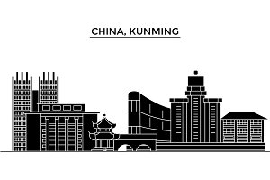 China, Kunming architecture urban skyline with landmarks, cityscape, buildings, houses, ,vector city landscape, editable strokes