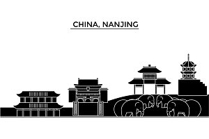 China, Nanjing architecture urban skyline with landmarks, cityscape, buildings, houses, ,vector city landscape, editable strokes