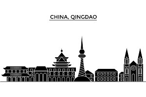 China, Qingdao architecture urban skyline with landmarks, cityscape, buildings, houses, ,vector city landscape, editable strokes