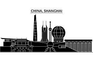 China, Shanghai architecture urban skyline with landmarks, cityscape, buildings, houses, ,vector city landscape, editable strokes