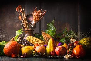 Harvest still life on rustic table