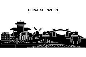 China, Shenzhen architecture urban skyline with landmarks, cityscape, buildings, houses, ,vector city landscape, editable strokes