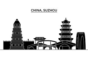 China, Suzhou architecture urban skyline with landmarks, cityscape, buildings, houses, ,vector city landscape, editable strokes