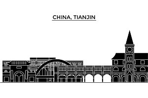 China, Tianjin architecture urban skyline with landmarks, cityscape, buildings, houses, ,vector city landscape, editable strokes