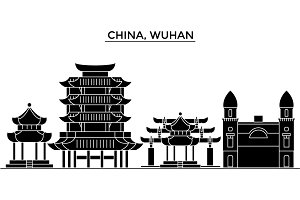 China, Wuhan architecture urban skyline with landmarks, cityscape, buildings, houses, ,vector city landscape, editable strokes