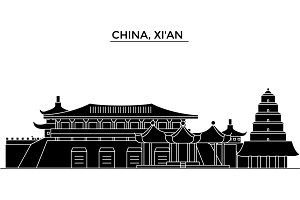 China, Xian  architecture urban skyline with landmarks, cityscape, buildings, houses, ,vector city landscape, editable strokes