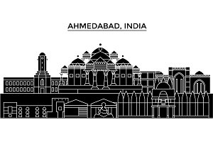 India, Ahmedabad architecture urban skyline with landmarks, cityscape, buildings, houses, ,vector city landscape, editable strokes