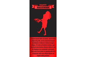 Happy Halloween Poster with Silhouette of Zombie
